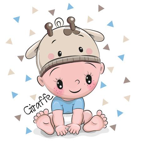 Foto de Cute Cartoon Baby boy in a giraffe hat on a white background - Imagen libre de derechos