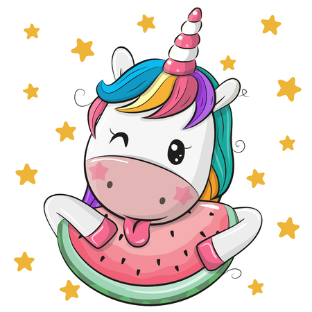 Foto de Cute Cartoon Unicorn with watermelon on stars background - Imagen libre de derechos