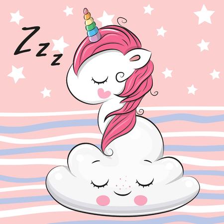 Illustration pour Cute Cartoon Unicorn is sleeping a on the Cloud - image libre de droit