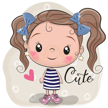 Foto de Cute Cartoon Girl on a beige background - Imagen libre de derechos