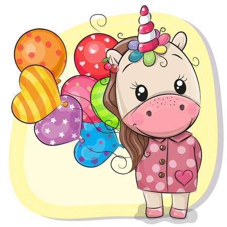 Illustration pour Greeting card Cute Cartoon Unicorn with balloons - image libre de droit