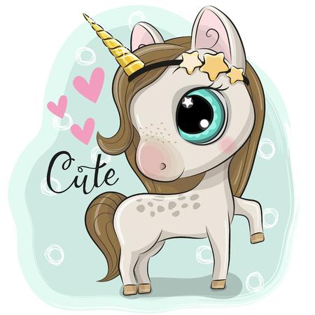 Illustration pour Cute Cartoon Unicorn on a blue background - image libre de droit