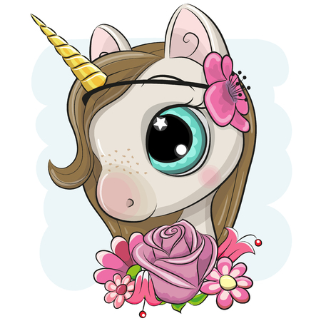 Cute Cartoon Unicorn with flowers on a blue background