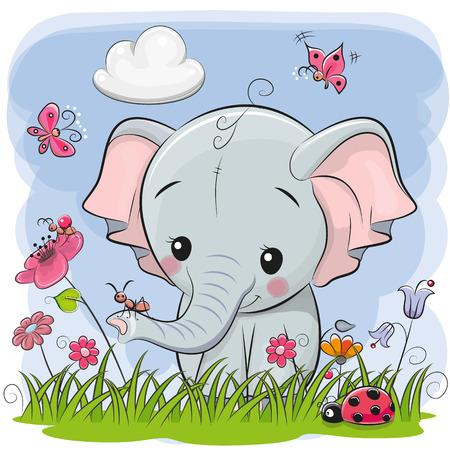Ilustración de Cute Cartoon Elephant on a meadow with flowers and butterflies - Imagen libre de derechos