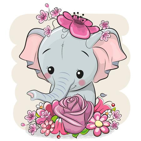 Ilustración de Cute Cartoon Elephant with flowers on a white background - Imagen libre de derechos