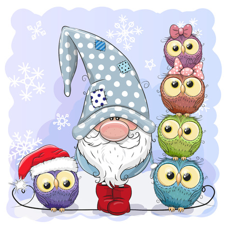 Illustration for Greeting Christmas card Cute Cartoon Gnome and Owls blue background - Royalty Free Image