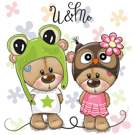 Illustration pour Greeting card Cartoon Bears boy and girl on a flowers background - image libre de droit