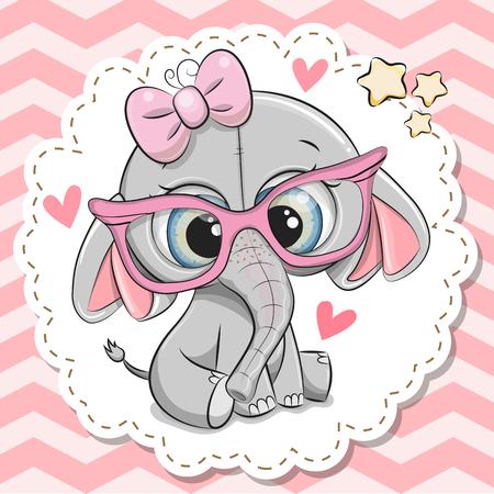 Ilustración de Cute cartoon Elephant girl in pink eyeglasses with a bow - Imagen libre de derechos