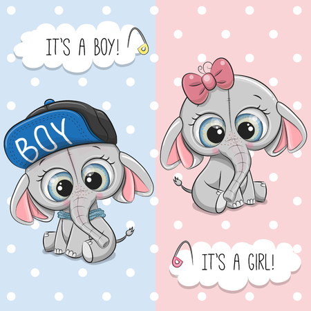 Illustration pour Baby Shower greeting card with Cute Elephant boy and girl - image libre de droit