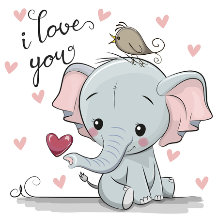 Foto de Cute Cartoon Elephant with Heart on a white background - Imagen libre de derechos