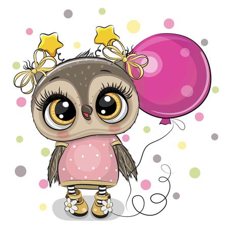 Ilustración de Greeting card Cute Cartoon Owl with pink balloon - Imagen libre de derechos