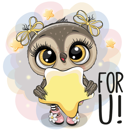 Illustration pour Cute Cartoon Owl girl with star on the stars background - image libre de droit