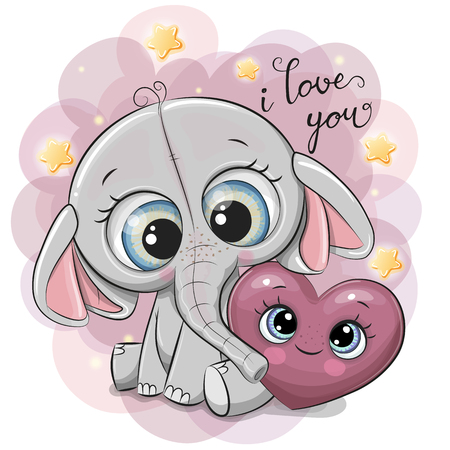 Foto de Cute Cartoon Elephant with heart on the stars background - Imagen libre de derechos