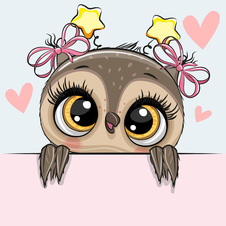 Photo for Greeting card cute Cartoon Owl Girl with hearts - Royalty Free Image