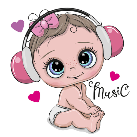Illustration for Cute cartoon Baby Girl with pink headphones on a white background - Royalty Free Image