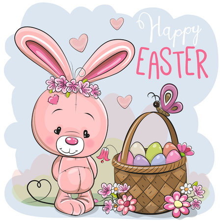 Illustration pour Cute Cartoon pink Bunny with a basket of Easter eggs - image libre de droit