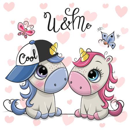 Illustration pour Two Cute Cartoon Unicorns on a hearts background - image libre de droit