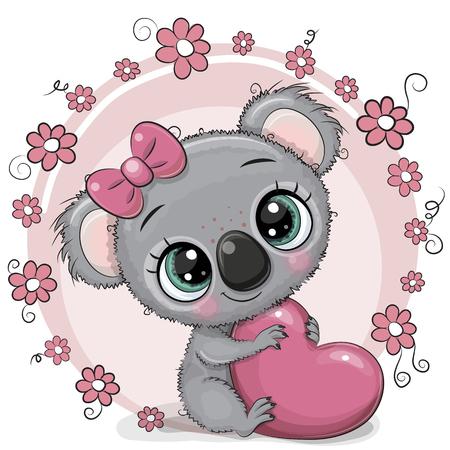 Illustration pour Greeting card Cute cartoon Koala with heart - image libre de droit