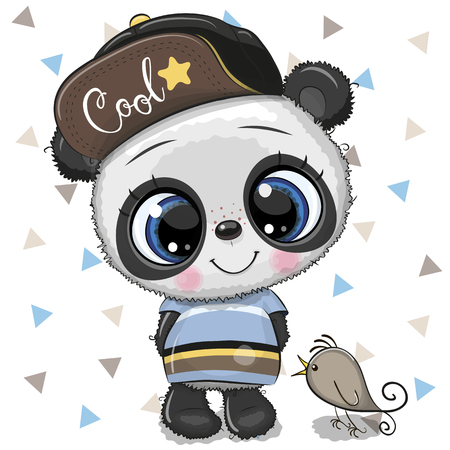 Illustration pour Cute Cartoon baby Panda in a cap with bird on a white background - image libre de droit