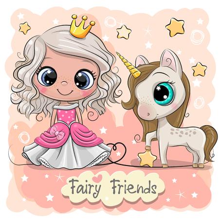 Illustration pour Greeting Card with Cute Cartoon fairy tale Princess and Unicorn - image libre de droit