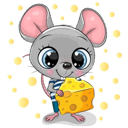 Ilustración de Cute Cartoon Mouse with big eyes and cheese - Imagen libre de derechos