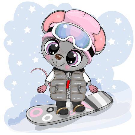 Illustration pour Cute cartoon Mouse Girl on a snowboard on a blue background - image libre de droit