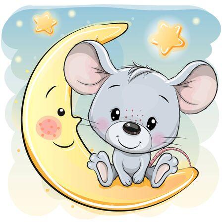 Photo pour Cute Cartoon Mouse is sitting on the moon - image libre de droit