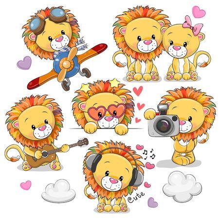 Illustration pour Set of Cute Cartoon Lions on a white background - image libre de droit