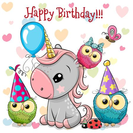 Illustration for Birthday card with Cute Unicorn and owls with balloon and bonnets - Royalty Free Image