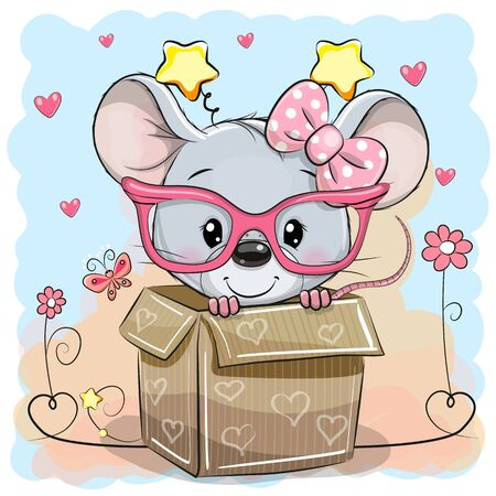 Illustration for Valentine card with a Cute Mice girl in a box - Royalty Free Image