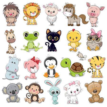 Illustration pour Set of Cute Animals on a white background - image libre de droit