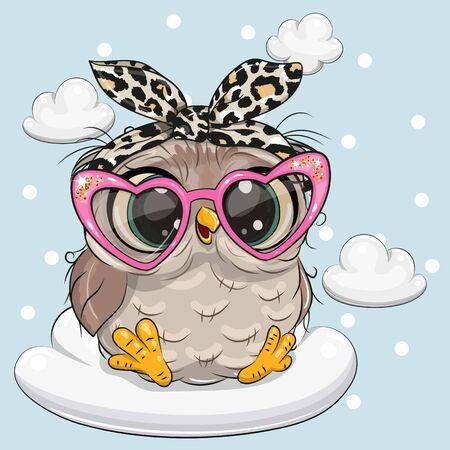 Illustration pour Cute Cartoon Owl in pink glasses on the cloud - image libre de droit