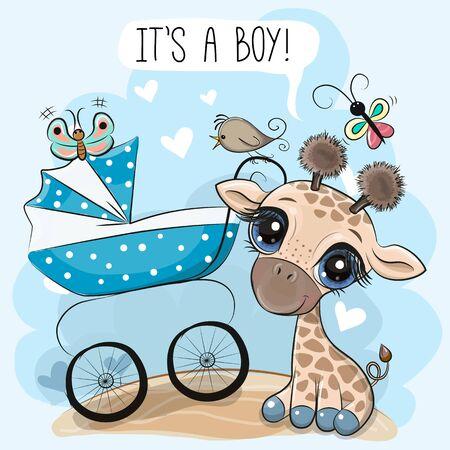 Ilustración de Greeting card its a boy with baby carriage and Cute Giraffe - Imagen libre de derechos