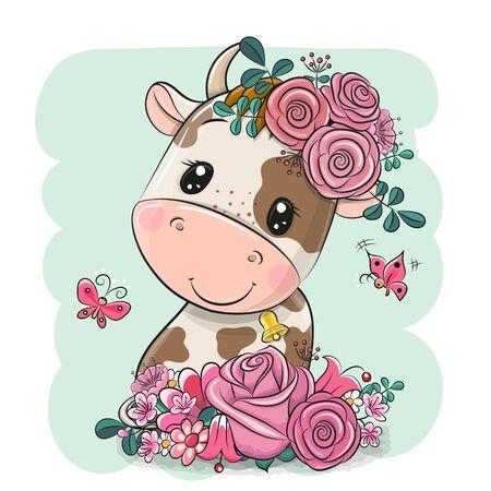 Ilustración de Cute Cartoon Cow with flowers on a green background - Imagen libre de derechos