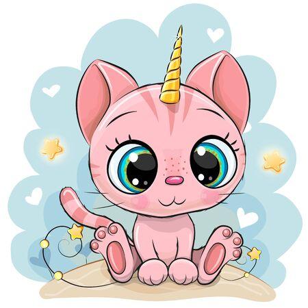 Illustration pour Cute Cartoon pink Kitten with the horn of a unicorn - image libre de droit