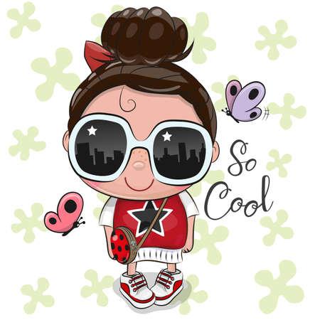 Ilustración de Cute Cartoon Girl in a red dress with sun glasses - Imagen libre de derechos