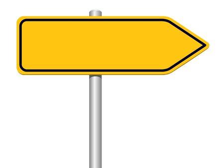 Illustration pour Yellow direction sign on a white background - image libre de droit