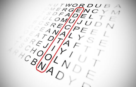 word search game and the word education circled