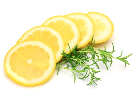 I took a lemon and a rosemary in a white background.