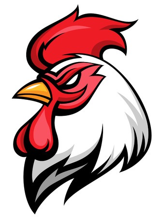 Illustration pour Angry rooster mascot, team symbol, isolated on white  - image libre de droit