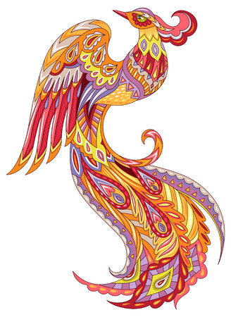 Ilustración de The Phoenix firebird. Colorful illuatration isolated on white background - Imagen libre de derechos