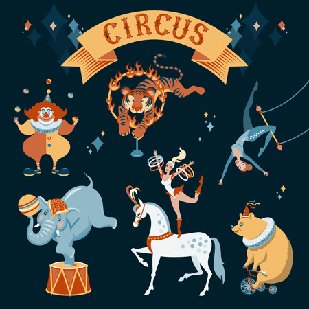 A set of circus characters illustration on dark background