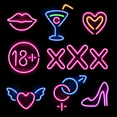 Set of glowing neon erotic symbols on black background