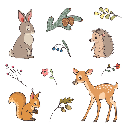 Set of cute forest animals. Rabbit, deer, hedgehog and squirrel in a cartoon styleのイラスト素材