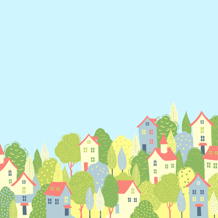 Illustration for Cute houses in the green trees. Spring background for your design - Royalty Free Image