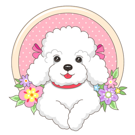 Little white lapdog in a frame with flowers in cartoon style. Cute illustration for your design