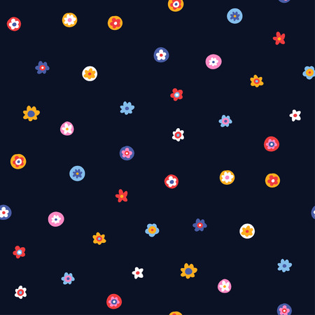 Illustration for Multicolor ornament of small simple flowers on dark blue background, Seamless pattern for design and textile - Royalty Free Image