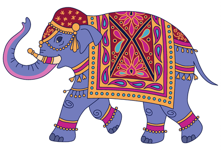 Ilustración de Blue Indian elephant decorated in traditional style. Vector illustration isolated on white background  - Imagen libre de derechos