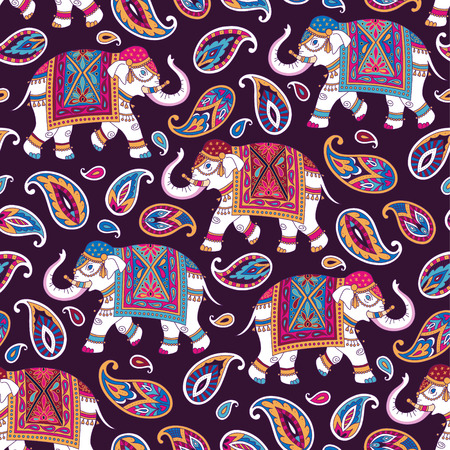 Illustration pour Indian style ornament  with elefpants and paisleys on dark background. Seamless pattern for textile and decoration  - image libre de droit
