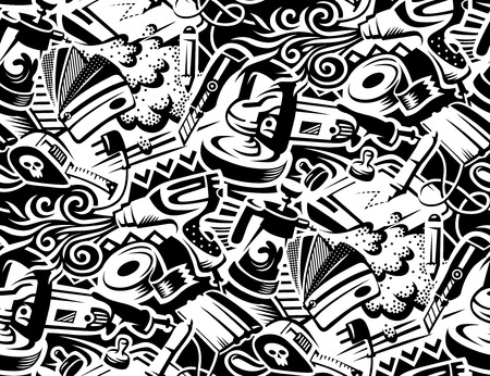 Ilustración de Tools for vinyl film pasting of car. Graffity style illustration. Seamless pattern for your design  - Imagen libre de derechos